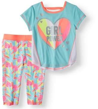 Healthtex Toddler Girl Short Sleeve T-Shirt & Capri Leggings, 2pc Active Outfit Set