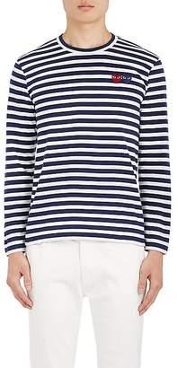 Comme des Garcons Men's Heart-Patch Striped Cotton T-Shirt