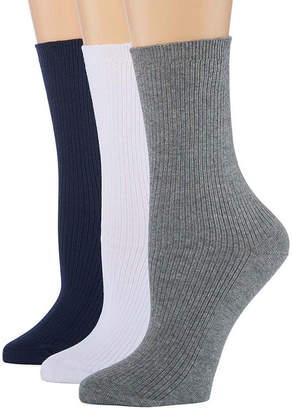 Asstd National Brand Berkshire Non Binding Crew 3 Pair Socks - Extended Sizes