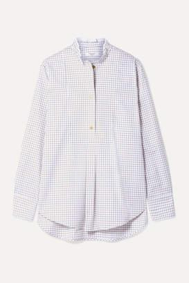 Atlantique Ascoli Ruffled Checked Cotton-twill Shirt - Ivory