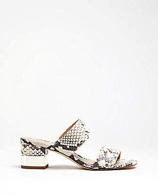 e667589f30f8bb Ann Taylor Liv Snakeskin Print Block Heel Leather Sandals