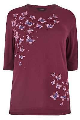 Yours Clothing Women's Plus Size Butterfly Print Top With Stud Details