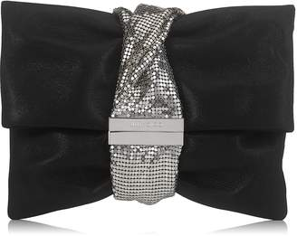 Jimmy Choo CHANDRA/M Black Shimmer Suede Clutch Bag with Chainmail Bracelet