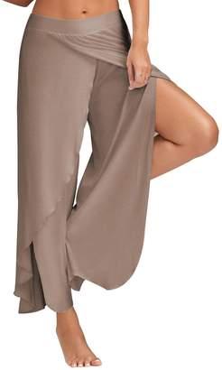 XARAZA Women High Waist Loose Comfy Pants Wide Leg Palazzo Pants with Chic Split Design