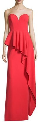 Milly Asymmetric Peplum Strapless Sweetheart Gown, Tomato $675 thestylecure.com