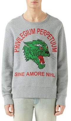 127e9262b37 Gucci Men s Green Panther Privilegium Graphic Sweatshirt
