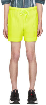 Issey Miyake Homme Plisse Yellow Colorful Pleat Shorts