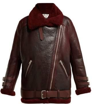 Acne Studios Velocite Shearling Jacket - Womens - Burgundy