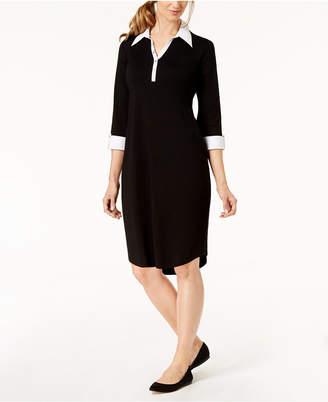 Karen Scott Petite Cotton Contrast-Collar Dress, Created for Macy's