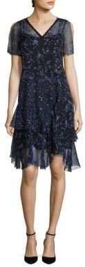 Elie Tahari Marceline Silk Ruffle Hem Dress $468 thestylecure.com