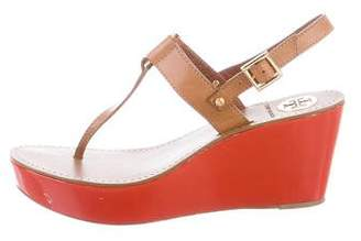 Tory Burch Round-Toe Patent Leather Wedges
