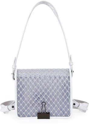 Off-White Off White PVC Net Flap Crossbody Bag, White