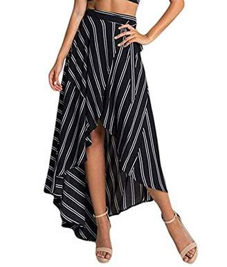 Mirry Women's Ethnic Print Maxi Skirt Floral High Waisted Chiffon Beach Dress