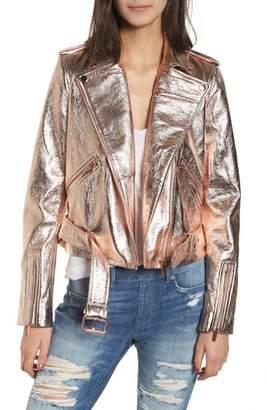 True Religion Brand Jeans Metallic Leather Moto Jacket