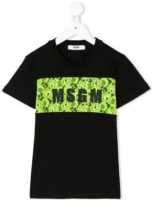 MSGM Kids lace logo panel T-shirt