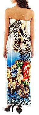 JCPenney Bisou Bisou® Strapless Print Maxi Dress