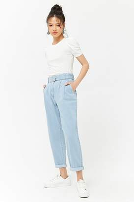 Forever 21 Belted High-Rise Ankle Jeans