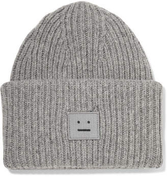 18fd056f807 ... Acne Studios Pansy Appliquéd Ribbed Wool Beanie - Gray