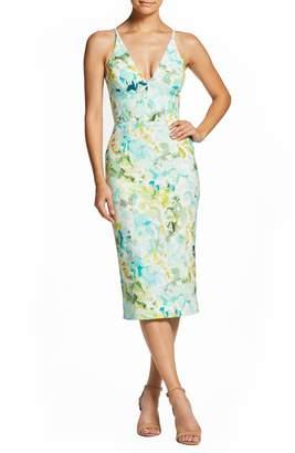 Dress the Population Lyla Watercolor Crepe Sheath Dress