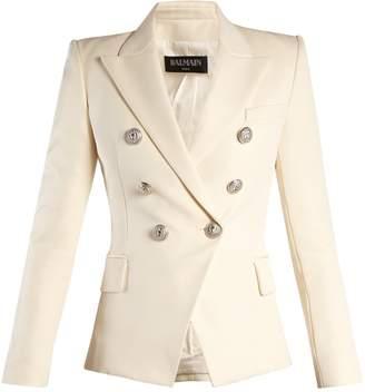 Balmain Double-breasted peak-lapel twill blazer