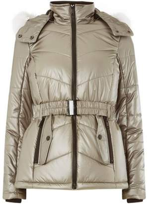 Dorothy Perkins Womens *Metallic Faux Fur Hood Ski Jacket
