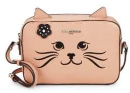 Feline Embroidery Leather Mini Bag