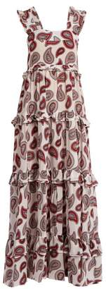 Dodo Bar Or Kat Paisley Print Silk Maxi Dress - Womens - White Print