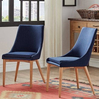 Mid-Century MODERN Weston Home Chelsea Lane Linen and Oak Dining Chairs, Set of 2