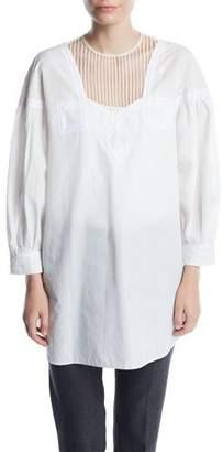 Calvin Klein Full-Sleeve Cotton Prairie Top w/ Diamond Embroidery at Neck