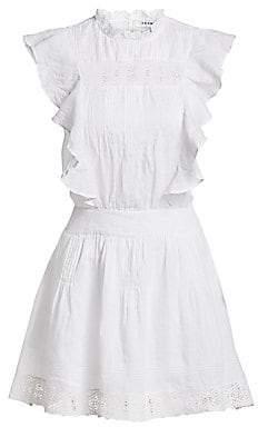 Frame Women's Pintuck Lace Panel Ruffled Mini Dress