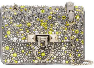 Valentino Garavani Demilune Small Embellished Suede And Leather Shoulder Bag - Silver