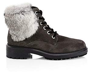 Aquatalia Women's Lacy Rabbit Fur& Shearling-Lined Combat Boots