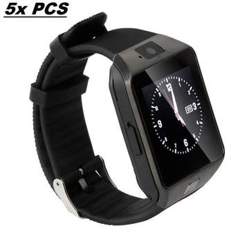 AmazingForLess 5 Pack DZ-09 Black Smart Watch Wholesale Lot Touch Screen Bluetooth Smart Wrist Watch - Supports SIM + Memory Card