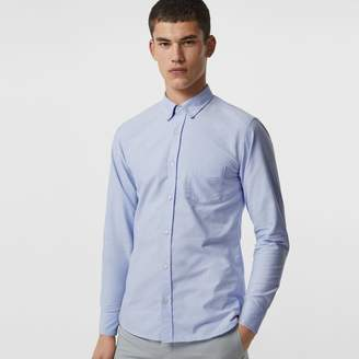 Burberry Check Cuff Cotton Oxford Shirt
