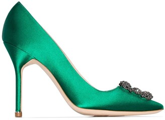 Manolo Blahnik Green Hangisi 105 pumps with jewel buckle