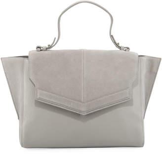 Halston Large Mixed Media Satchel Bag, Dove Grey