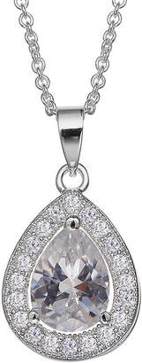 SILVER TREASURES Silver Enchantment Cubic Zirconia Sterling Silver Teardrop Pendant Necklace