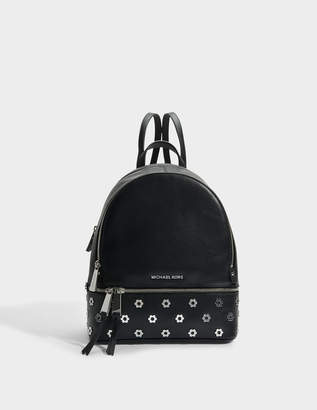 MICHAEL Michael Kors Rhea Zip Medium Backpack in Black Polished Leather