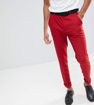 Asos Design DESIGN Tall Skinny Suit Trousers In Scarlet Red
