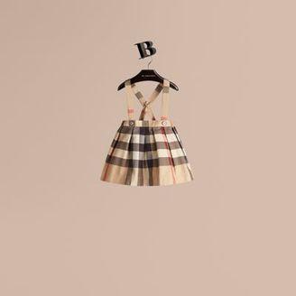 Burberry Check Cotton Skirt With Detachable Straps $130 thestylecure.com