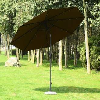 Outsunny 24 Led Light Parasol Tilt Sun Umbrella W/ Hand Crank (Coffee Or Wine Red)