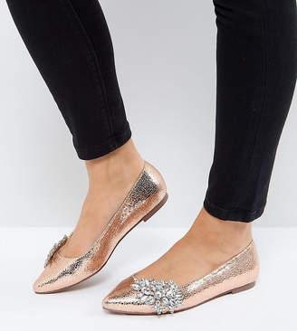 Asos VIVID Wide Fit Embellished Ballet Flats