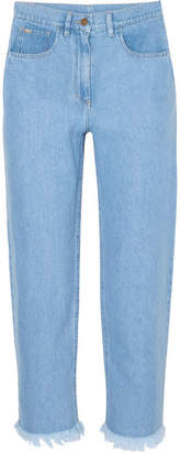 Nanushka - Rupa Frayed High-rise Straight-leg Jeans - Blue