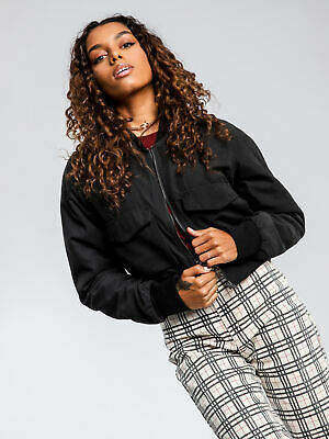 Nude Lucy New Womens Avril Utility Bomber Jacket In Black Jackets Bomber