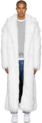 Pyer Moss White Long Faux-Fur Coat