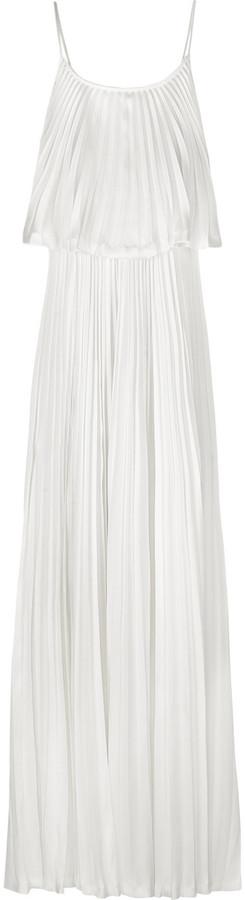 Halston Heritage Plissé two-tier silk maxi dress