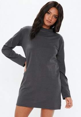 5797a4da Missguided Dark Gray Oversized Jersey Long Sleeve T-Shirt Dress