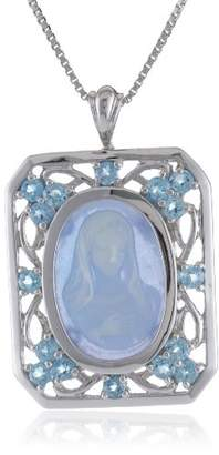 Sterling Silver Aquamarine Resin and Genuine Swiss Topaz Virgin Mary Cameo Pendant Necklace