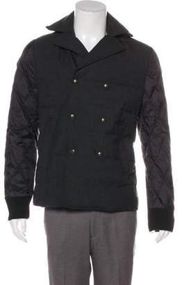 Moncler Gamme Bleu Fur-Trimmed Padded Wool Jacket