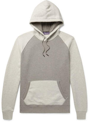 Ralph Lauren Purple Label Colour-Block Fleece-Back Cotton-Blend Jersey Hoodie